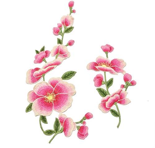 (Toruiwa 2X Patches Bestickte Aufnäher Blumen Patches Nähen Patch Sticker Applique Badge für Kleid Hut Schuhe Jeans DIY Kostüm Schmücken (Rosa))