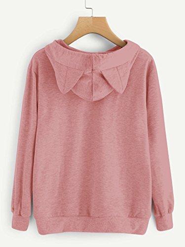 SIMYJOY Damen Niedlichen Sweatshirt Hoodie Kätzchen Pullover mit Katzenohren Kitty Ohren Lockere Pullover Rosa