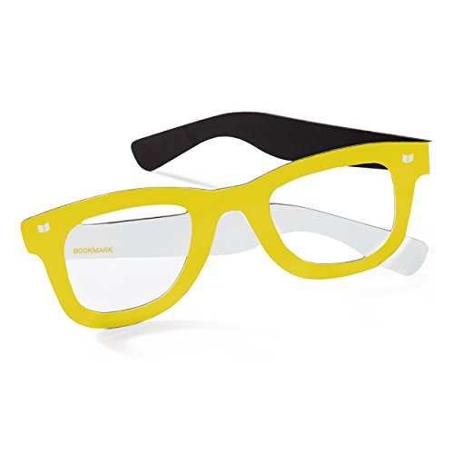 Lesebrille / gelbes Lesezeichen in Form einer