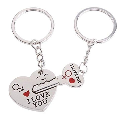 KAIKSO-IN Hot-Paar-Geschenk-Herz-Schlüssel Schlüsselbund Schlüsselbund Set Valentines'day Liebe Geschenk 1 Paar