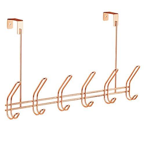 Interdesign 44019EU Classico Hakenleiste zum Hängen über die Tür für Jacken, Mäntel, Hüte, Schals, Handtaschen, 12 Haken, kupfer