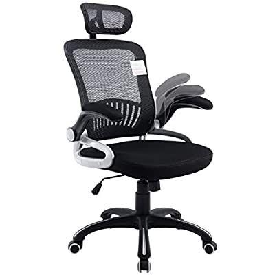 Mesh High Back Extra Padded Grey Swivel Office Chair with Head Support & Adjustable Arms - low-cost UK light shop.