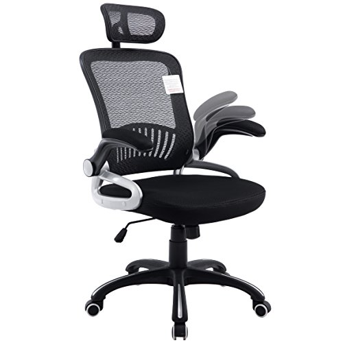 Mesh High Back Extra Padded Swivel Office Chair with Head Support & Adjustable Arms (Black)
