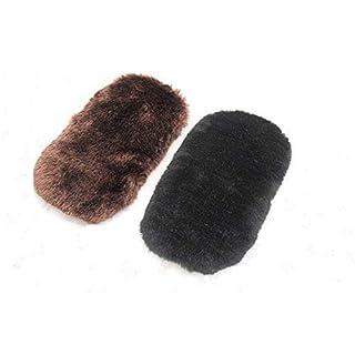 Lvcky 2pcs Soft Wool Shoe Polishing Cleaning Brush Glove Shoe Care Tool (Random Color)