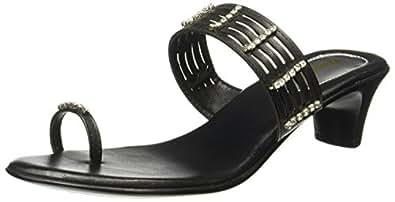 BATA Women's Diamond Toe Ring Black Fashion Sandals - 4 UK/India (37 EU)(6716981)