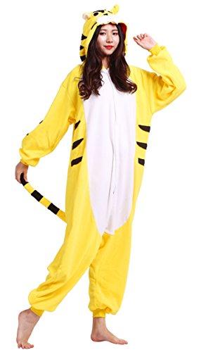 Pyjama Tier Onesies Erwachsene Unisex Cospaly Gelb Tiger Geeignet für Hohe 140-187CM (Unisex-erwachsene Tiger)
