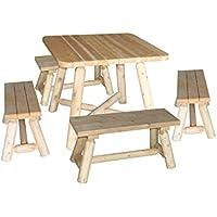 Amazon Fr Table Et Banc En Bois Cedre Rondins Jardin