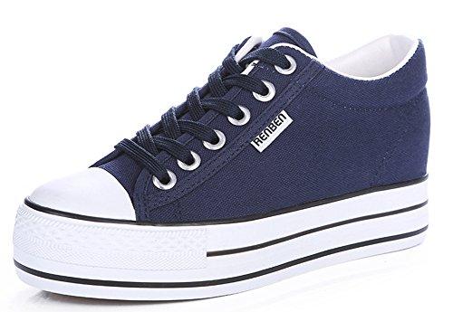 Aisun Mulheres Lona Calça Jeans Óptica Planalto Schnürer Tênis Azul Escuro-aumenta