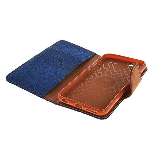 MOONCASE Coque en Cuir Portefeuille Housse de Protection Étui à rabat Case pour Apple iPhone 6 ( 4.7 inch ) saphir Dark Bleu