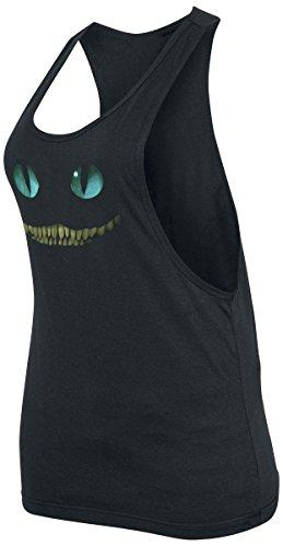 Alicia en el país de las maravillas - camiseta de tirantes del gato de Cheshire - mujer - tirantes de corte mariposa con laterales bajos - algodón - negra - M