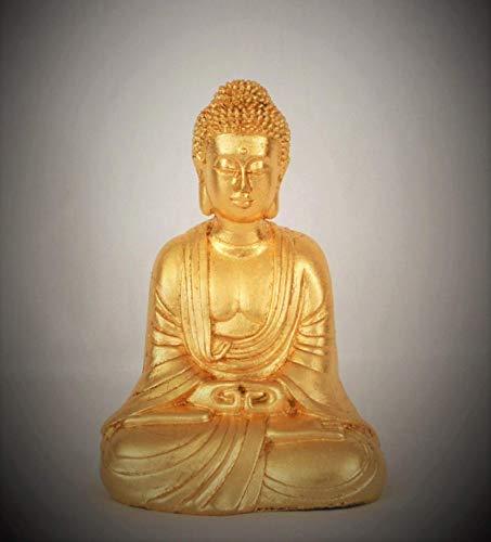 Kleine Buddha-Figur, gold/vergoldet mit Blattmetall