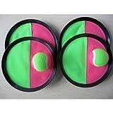 Klettball (Catchball)-Spiel mit 4 Fangscheiben und 5 Klettbällen (ca. 63 mm Durchm.) Ein toller Spielspaß für die ganze Familie