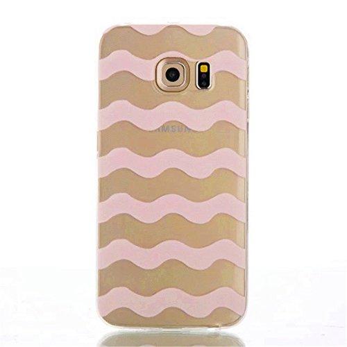 """Samsung Galaxy S6 """" Case Cover,TKSHOP Custodia TPU Silicone Gel Morbido Trasparente Cristallo Bumper Protezione smartphone Anti-Scratch - Stampa Modello Strisce ondulate rosa"""