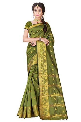 Viva n Diva Sarees for Women's Green Colored Banarasi Silk sarees for offer designer sarees silk