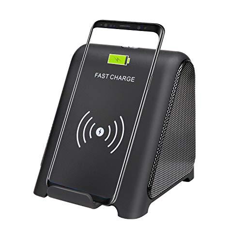 TPLISAK Chargeur sans Fil avec Haut-Parleur Bluetooth 2 en 1 Lecteur Audio 10 W Compatible avec Samsung S9 S9 S9 + S8 S8 + S7 S6 Note 8 9 iPhone X XS Max XR 8+ Jaune (Noir)