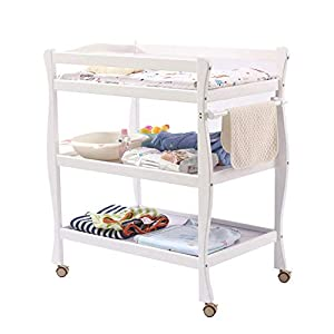 Baby Changing Table White, Newborn Diaper Station Dresser with Casters & Pad, Portable Wood Nursery Organizer for Infant   13