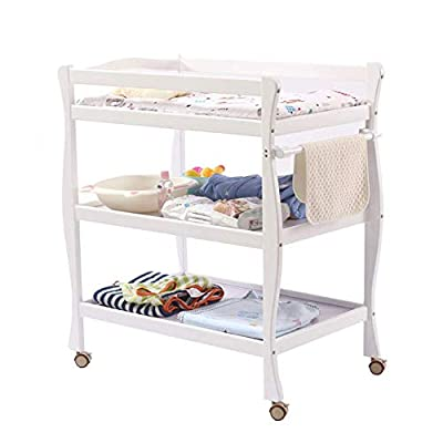 LNDDP Baby Changing Table White, Newborn Diaper Station Dresser with Casters & Pad, Portable Wood Nursery Organizer for Infant