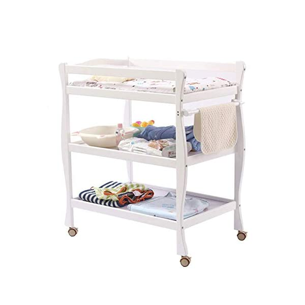 Baby Changing Table White, Newborn Diaper Station Dresser with Casters & Pad, Portable Wood Nursery Organizer for Infant GUYUE Silent caster with brake. Safety rails enclose all four sides of the changing area Strong and sturdy wood construction: Pine + solid wood paint free board. 1