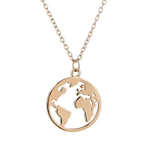 Goldkette Damen mit Welt Anhänger. Silberkette Damen 925 mit 14K Weissgold, Roségold oder Gold Plattierung. Länge der Kette 40+5cm (extra). Halskette designed in Deutschland.