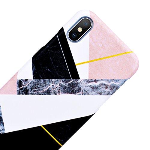 WE LOVE CASE Coque iPhone 8 Plus, Coque de Protection en Hard PC Dur Coque iPhone 8 Plus Marbre Motif Anti Choc Bumper, Antichoc Rigide Resistante Coque Apple iPhone 8 Plus Rose Blanc