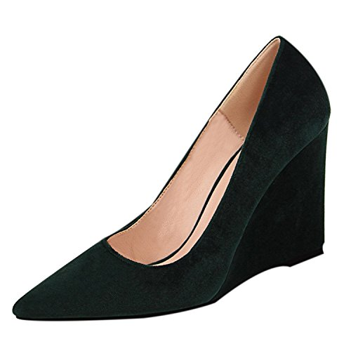 Oasap Women's Pointed Toe Slip-on Low Top Wedge Heels Pumps Green
