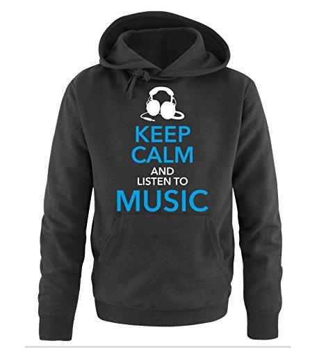 Comedy Shirts - KEEP CALM... MUSIC - Uomo Hoodie cappuccio sweater - taglia S-XXL different colors nero / bianco-blu-blu