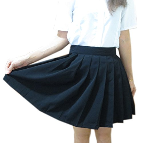 QIYUN.Z Mode Plisses eleves Waits Femmes Jk Filles Uniformes Femmes etudiantes Jupes Noir