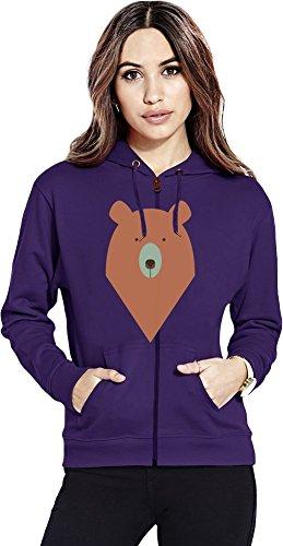 Graphic bear Womens Zipper Hoodie X-Large (Hoodie Womens Zip Bear)
