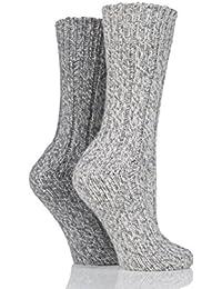 Ladies 2 Pair SockShop Ribbed Wool Boot Socks