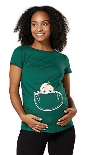 Happy Mama. Damen Baby in der Tasche T-Shirt Top Oberteil für Schwangere. 501p (Grün, 40-42, L)