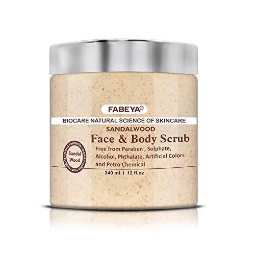 FABEYA BioCare Natural Sandalwood Face and Body Scrub - No Parabens and Sulphates - 340 ml Pack of 1