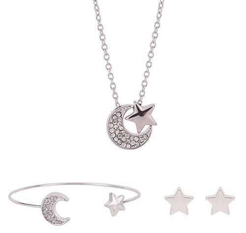 Kinder Halskette 4 Lieben-familie (Outflower 1 Set Ohrringe Halskette mit Anhänger, Damen Kette mit Edelsteine Geometrie Mondstern Form Anhänger| Feine Kette Anhänger Minimalist Halskette Schmuck Earrings)
