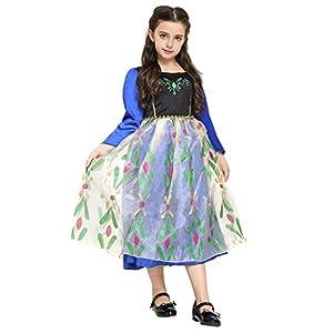 Katara 1761 - Disfraz de Princesa Anna - Frozen Vestido Floral - Traje de Hadas Carnaval - Niñas de 7-8 Años, Morado