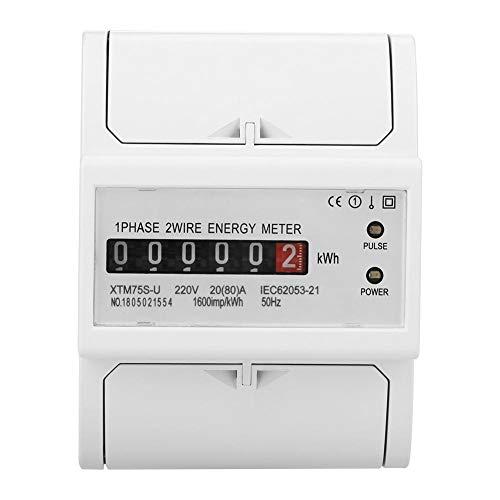 220 V DIN-Schiene Stromzähler, Digital 1 Phase Stromzähler 2 Draht 4 P, XTM75S-U Stromzähler KWh Meter(20(80) A) -