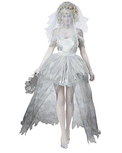 Zombie Kostüm Kostüm Braut (Damen Zombie Braut Kostüm Für Halloween Karneval Fasching Kleid Grau)