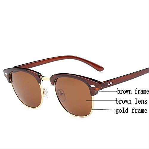 MJDL Mode Sonnenbrillen Männer Frauen Klassische Markendesigner Half Metal Femail Spiegel Brillen Männliche Sonnenbrille Uv400 Braun Gold Braun