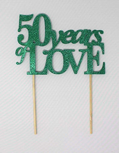All About Details 50 Years Of Love Cake Topper, 1pc, 50th Year Anniversary, 50th Birthday (Green) - 8 inches -