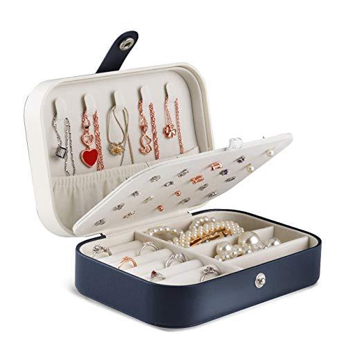 JOYUE Joyero Pequeña, Joyero portátil de Viaje para Mujer, Jewelry Organizer para Anillos Aretes Pendientes Pulseras y Collares, 16,5 x 11,5 x 5,5 cm (Azul)
