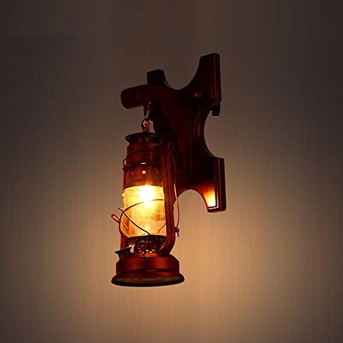 C&L Rétro Applique, Allée s'allume LOFT Style En Bois Massif Fer Forgé Applique Creative Chambre Bar Restaurant Cafe Club Applique E27 (taille : 18 * 40cm)
