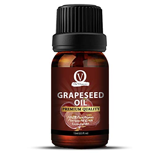Grapeseed Oil For Face, Pigmentation, Hair & Body. 100% Pure, Cold Pressed, Undiluted, Unrefined. Essential Oil for Face, Nails, Hair, Skin. Therapeutic AAA+ Grade (15ml)