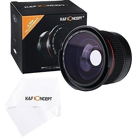 K&F Concept® - Objetivo Súper Gran Angular, 58MM Fisheye Ultra Claro con Azul Recubiertos con Película Objetivo Macro para Canon Nikon DSLR Cámaras + Paño de