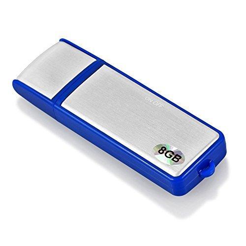 ESYNiC 8GB Digital Diktiergerät Mini USB Speicherstick Digitalrecorder Aufnahmegerät Sprachaufnahme aus Aluminiumlegierung Flash-Speicher Digital Audiorekorder - Über 96 Stunden Aufnahmezeit - Blau und silber