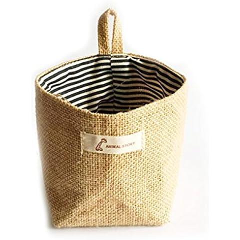 QHGstore Viven Trastero saco de tela que cuelgan bolsas de comestibles paño maceta Vivienda cesta franja