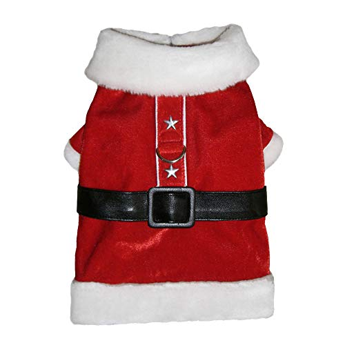 Paws Santa Dog Kostüm - Pooch Outfitters Hunde-Kostüm, Krawatte, Fliege, Schal, Kragen, Slider, Kleid, Mantel, Pyjama und Mütze - ideal für Familie, Weihnachtskarten Fotos, XXS, Santa Paws Coat