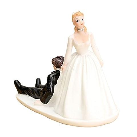 SODIAL(R) FUNNY ROMANTIC WEDDING CAKE TOPPER FIGURE BRIDE GROOM BRIDAL Couple Run away
