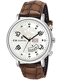 Golden Bell Official Day And Date Calender Function Analogue Display White Dial Brown Leather Strap Boys And Men's...