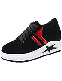 Aisun Damen Fashionable Stern Denim Quadratisch Zehe Low-Top Schnürsenkel Sneakers Schwarz 36 EU