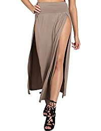 Womens Ladies Double Split Slit High Waisted Swing Long Jersey Skater Midi Skirt S/M (UK 8/10) Mocha