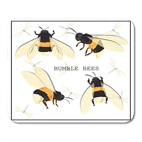 Mouse Pads Yellow Bees Black Bumblebee Honey Bee -