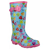 Cotswold Button Heart Wellingtons Blue and Multi 4